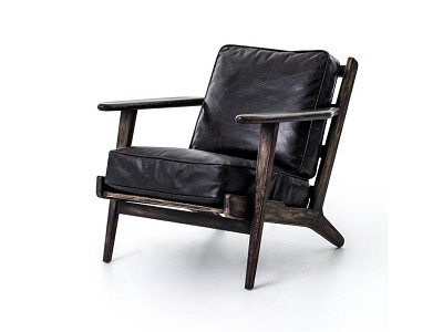 Brof Lounge Chair Rialto Ebony Leather