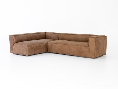 Nolf Sectional - Natural Washed Sand Right Arm 2 Piece Sectional